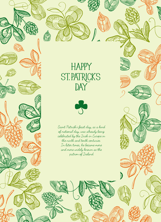 Botanical St. Patrick's day festive poster with text in rectangular frame and sketch Irish clover vector illustration. Ilustração