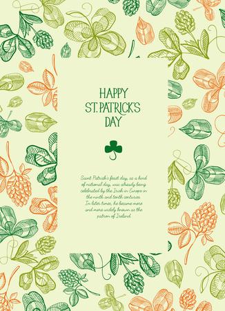 Botanische St. Patrick's dag feestelijke poster met tekst in rechthoekig frame en schets Ierse klaver vectorillustratie. Stockfoto - 96101304