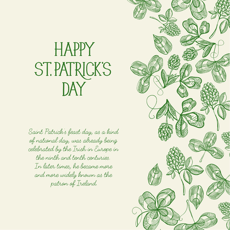 Green and white original decorative design postcard doodle hand drawn with lettering about st. patricks day with hop twigs and berries vector illustration
