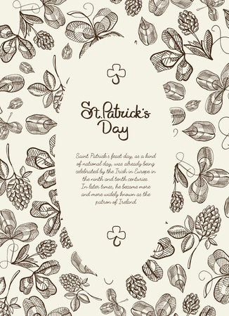 Monochrome oval frame doodle postcard with many hop branches, blossom and greeting with traditional st. patricks day on white background vector illustration