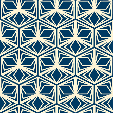Abstract monochrome seamless pattern with repeating hexagonal shapes in vintage style. Vector illustration.