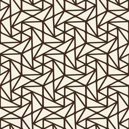 Abstract monochrome vintage seamless pattern with brown connected linear repeating structure on light background vector illustration Stock Vector - 96350748
