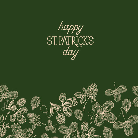 Green st. patricks day decorative card with many traditional elements under text about this holiday decorated by foliage on beautiful dark background vector illustration Ilustração