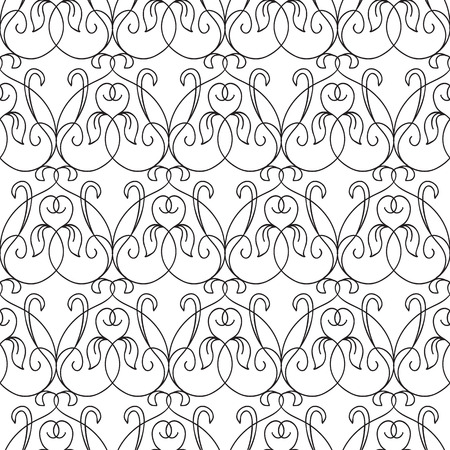 Abstract elegant seamless pattern with repeating ornate flourish traceries in monochrome style vector illustration Illustration