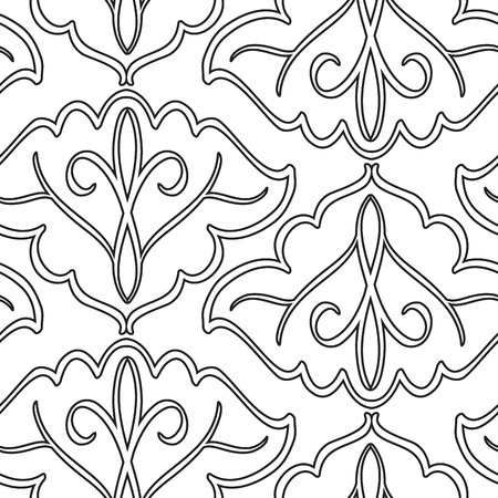 Minimalist abstract seamless pattern with black repeating elegant traceries in monochrome style on white background vector illustration