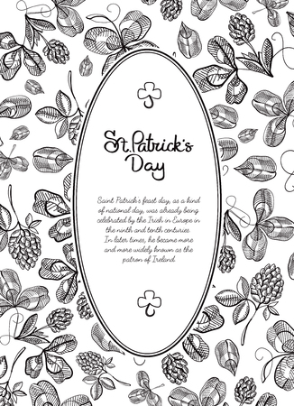 Black and white frame doodle postcard with many hop branches, blossom and greeting with traditional st. patricks day on white background vector illustration Illustration