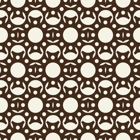 Abstract monochrome seamless pattern formed by repeating geometric ornate with circles and petals flat vector illustration