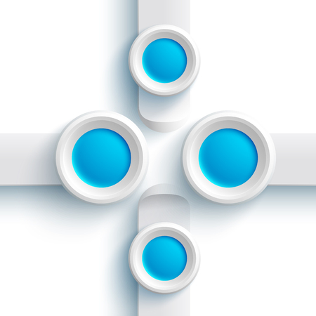 Abstract web design elements with gray banners and blue round buttons on white background.