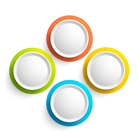 Abstract web elements collection with four colorful round buttons on white background isolated vector illustration
