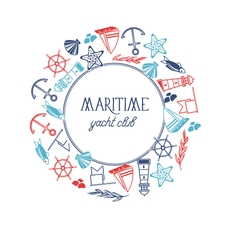 Maritime yacht club round frame poster with numerous symbols including fish, ship, red stars and flags around the text on the white background vector illustration