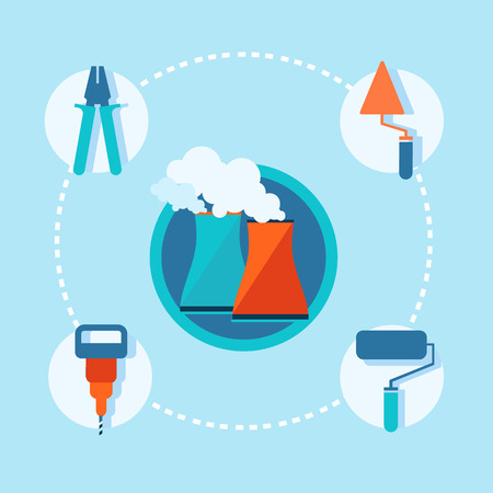 Manufacturing objects set concept with different important specific implements and equipment joined by dotted line in the working planning vector illustration.