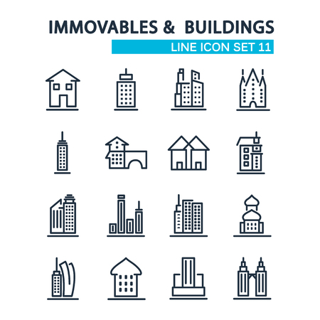 Set of buildings design style decorative icons on the white background with sixteen images consisting of different kind of building such as downtown, skyscraper, church, cityscape, warehouse, townhouse vector illustration.