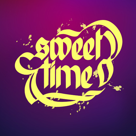 Typographical concept purple background with bright words sweet time flat vector illustration. Ilustração