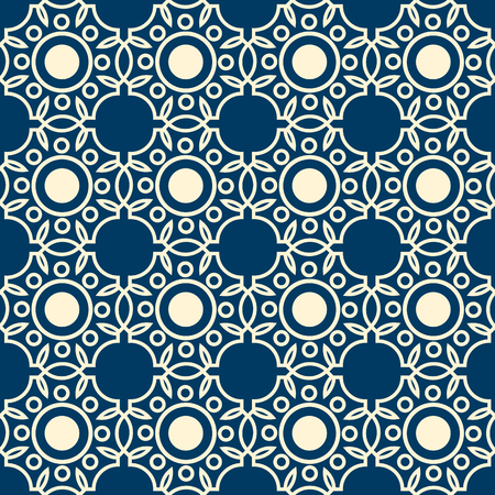 Abstract lacy seamless pattern formed by white lines on blue background with rounds and leaves flat vector illustration.