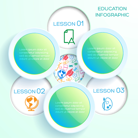 Back to school infographics with three glossy colorful circles and round holes with icons vector illustration.