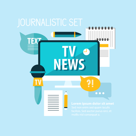 Reporter flat concept with different journalistic equipment and elements on light blue background vector illustration. Illusztráció