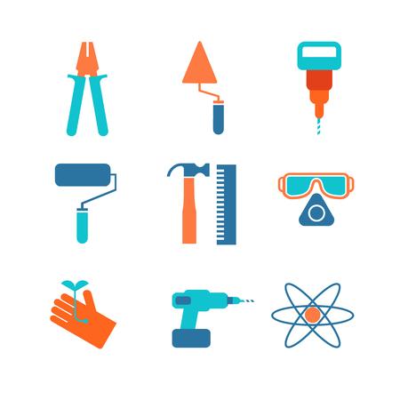 Ensemble de neuf icônes spécifiques décoratives avec gants, marteau, lunettes, rouleau et différents outils de travail isolé illustration vectorielle