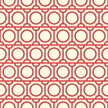 Vintage minimalistic abstract seamless pattern with red circles and straight lines of repeating structure vector illustration.