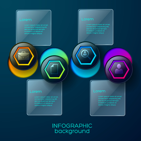 Infographic background concept with four colorful business pictograms in hexagon shape with circle holes and text descriptions vector illustration.