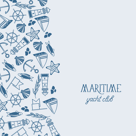 Maritime yacht club poster divided on two parts the front one consists of the text and the second one consists of many symbols such as coquille, seaweed, stones and flags on the white background vector illustration Stok Fotoğraf - 96058167