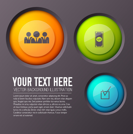 Teamwork infographic concept with editable text paragraph and three round buttons of different size and colour