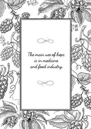 Black colored square frame with hop cartoons with berries, foliage and many decorative squiggles and inscription about main use of hopes hand drawn sketch vector illustration. Иллюстрация
