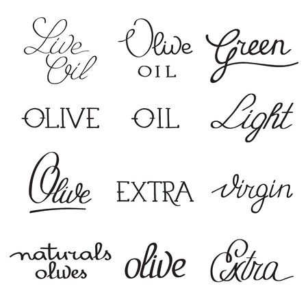 Olive oil typographical inscriptions collection with different variants of spelling on white background isolated vector illustration.