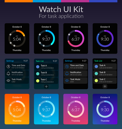 Mobile watch ui kit design concept with colorful backgrounds flat isolated vector illustration. Illustration