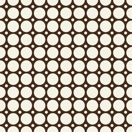 デザインの背景ベクトルのイラストに描かれた繰り返し可能なまだら丸い形状と球体を持つ最小限の抽象的なシームレスな白黒パターン。