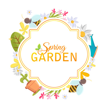 Spring garden design frame with images of tree, pot, bee, watering can, bird house and many other objects on the white background vector illustration. Illustration