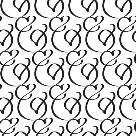 Abstract elegant seamless pattern with romantic repeating bent traceries in monochrome minimalistic style vector illustration.