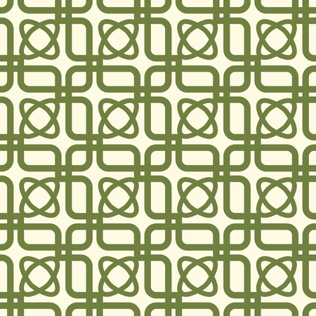 Green and white kaleidoscope seamless pattern repeating symmetric squares, elements and oval shapes vector illustration. Иллюстрация