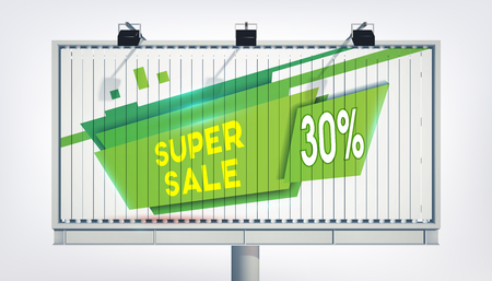 Big billboard green sale banner with three lights, gigantic word super sale, thirteen percent and the green trapeze in the realistic style on the white background vector illustration