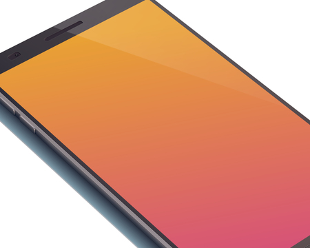 Modern digital smartphone concept with beautiful orange touchscreen display with shadow on the white background and four cutting corners of device vector illustration. Illustration