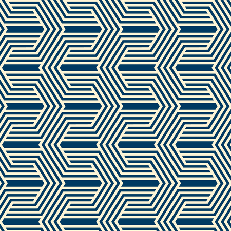 Vintage minimalistic geometric seamless pattern with linear texture of repeating structure in monochrome style vector illustration