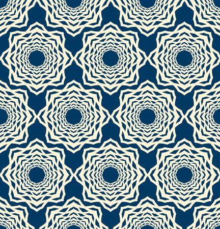 모자이크 장식으로 레이스 원활한 패턴 파란색 배경 평면 벡터 일러스트 레이 션에 대칭 흰색 요소를 반복 이루어져 구성됩니다.