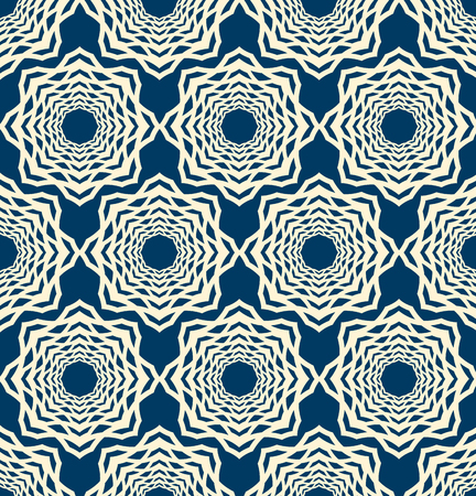 Lace seamless pattern with mosaic ornament composed of repeating symmetry white elements on blue background flat vector Illustration.