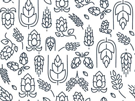 De takjes hoppen naadloos patroon met het herhalen van beelden van mout en bladerenhand trekkend op de witte vectorillustratie als achtergrond Vector Illustratie