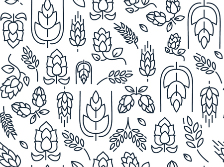 Twigs hop seamless pattern with repeating images of malt and leaves hand drawing on the white background vector illustration