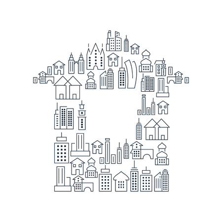 City buildings lined icons set in shape of house on white background isolated vector illustration