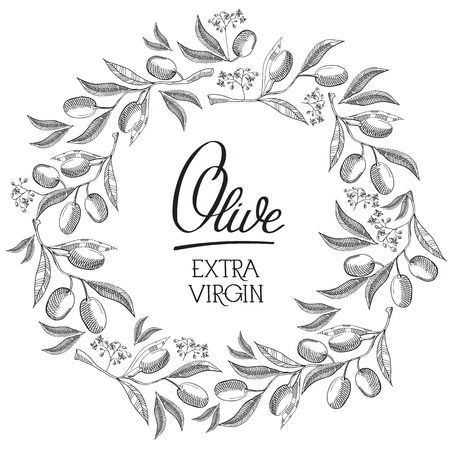 Abstract vintage floral poster with calligraphic text and round wreath of olive branches on white background vector illustration
