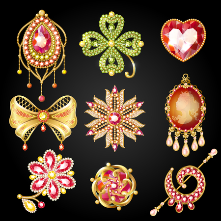 Cartoon glossy gold brooches collection of different shapes with jewels and gemstones isolated vector illustration.