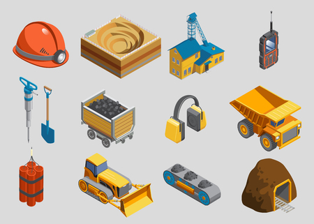 Isometric mining elements set with helmet quarry factory radio drill shovel trolley protective headphones truck dynamite bulldozer conveyor mine isolated vector illustration