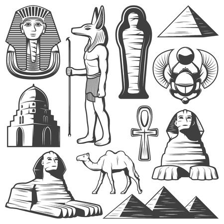 Vintage ancient Egypt elements set with pharaoh sarcophagus ankh scarab sphinx camel pyramids citadel mummy isolated vector illustration  イラスト・ベクター素材