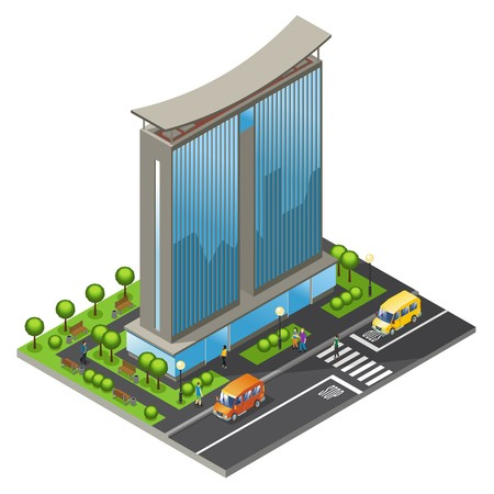 Isometric office building concept with modern business skyscraper moving cars people road and trees isolated vector illustration.
