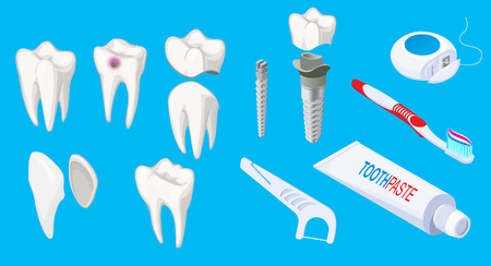 Isometric dental elements set with sick and healthy teeth implants toothpaste scraper toothbrush floss isolated vector illustration