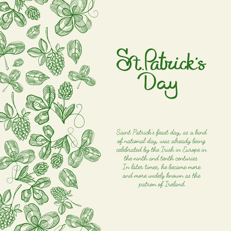 Monotone decorative design sketch postcard hand drawn with lettering about st. patricks day on right with hop twigs and clover vector illustration.