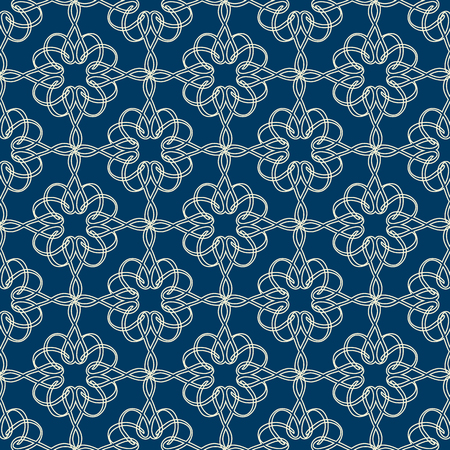 Abstract monochrome seamless pattern with elegant curved lines of connected repeating structure on blue background vector illustration