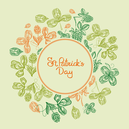 Cororful round frame sketch composition postcard with leaves clover and hop branches around St.Patricks Day inscription vector illustration. Illustration