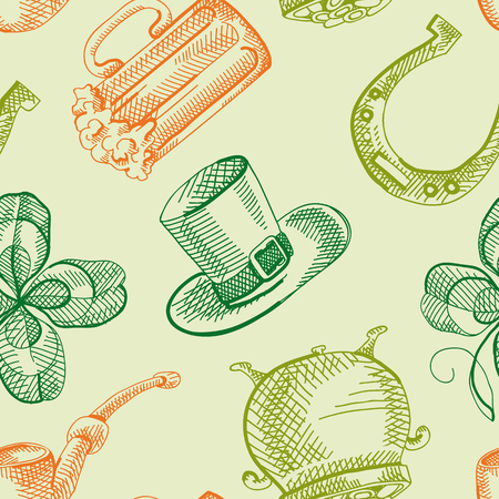 Colorful St Patricks Day seamless pattern with hand drawn traditional symbols and festive elements vector illustration